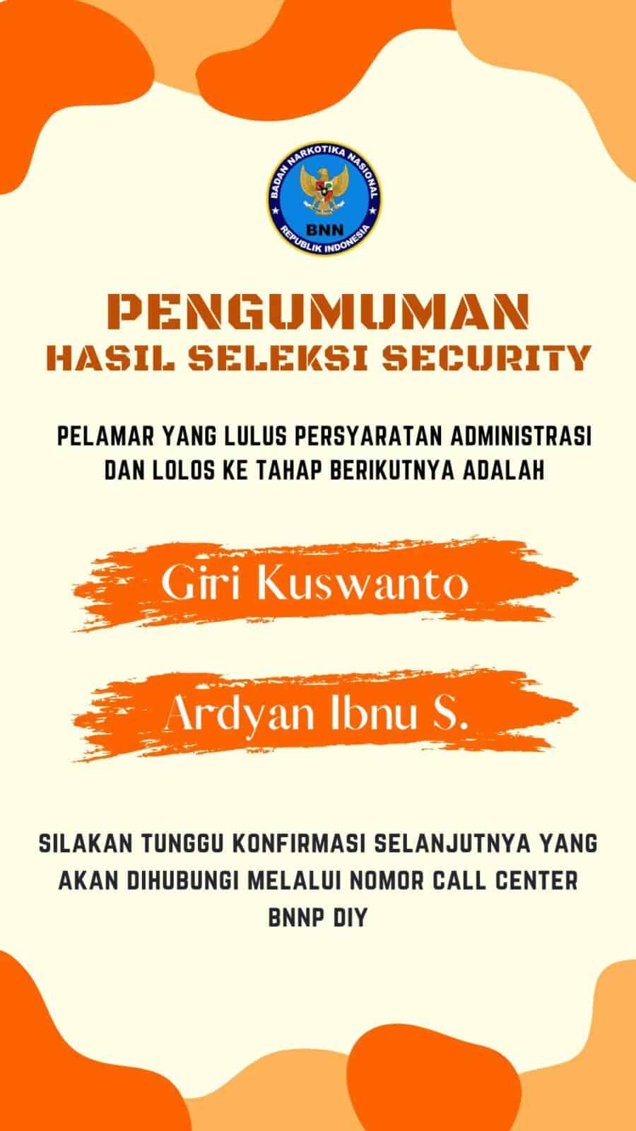 Hasil Seleksi Administrasi Security – Tahap I
